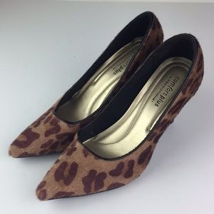 Leopard Faux Fur High Heels Pointed Toe Animal